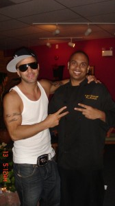 DJ Nasty Naz & R&B Singer Karl Wolf at Caribbean Flavas after the show. He was LOVING our Jerk Chicken.